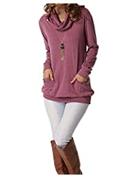 LAMEZI Women's Cowl Neck Long Sleeve Button Slim Sweatshirt Tops with Pockets