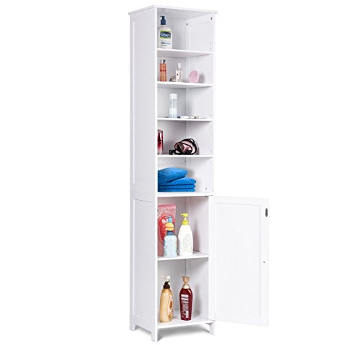 "White 72"" Tall Bathroom Free Standing Storage Cabinet Display Organizer 5 Layer Towel Toiletries Storage Shelf Large Storage Space Home Hallway Kitchen Space Saving Sturdy Durable Furniture Decor"