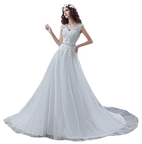 Beauty-Emily Encaje de una línea de vestidos de boda del botón con V-cuello sin mangas capilla del tizón Blanco