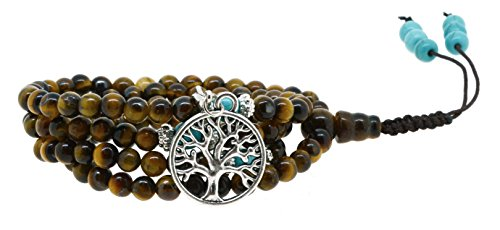 (Yoga Meditation Simulated Tiger Eye 108 Prayer Bead Mala Wrap Bracelet Necklace(Silver Tree of Life))
