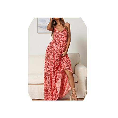 A Line Dresses Summer Red Red Blue Appliquesqq Ankle Length,Red,M