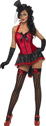 [Fever Women's Lace Burlesque Corset Dress, Black/Red, Large] (Burlesque Costume Halloween)