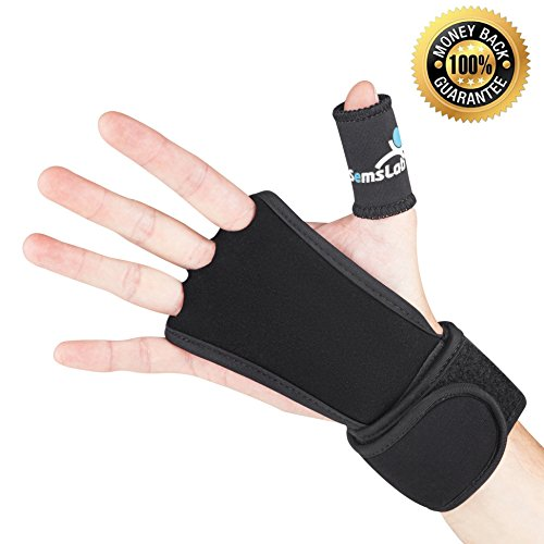 SEMSLAB EXTRA STRONG Hand Grips with Wrist Wraps and Palm Protector for Cross Fitness, Kettlebell, weightlifting, WOD, bar workout, PowerLifting, gym exercise gloves + Pair of Bonus NUBS (Tatuaje Series)
