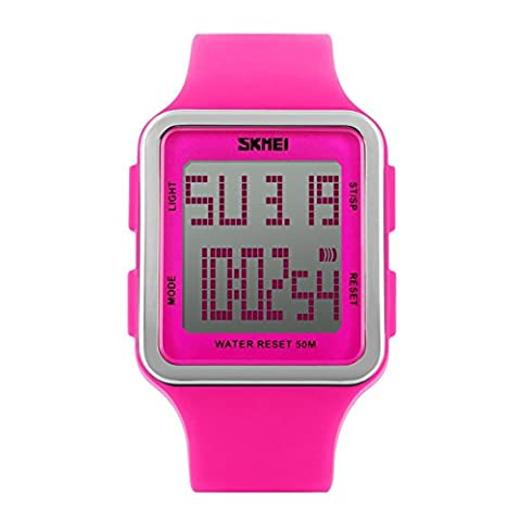 Women's Sport Digital Watch, Big Face Square, Waterproof and Multifunctional Watch - Soft Silicone Strap - Easy-to-Read Numbers – Water and Shock Resistant (rose red, (Multifunctional Watch)