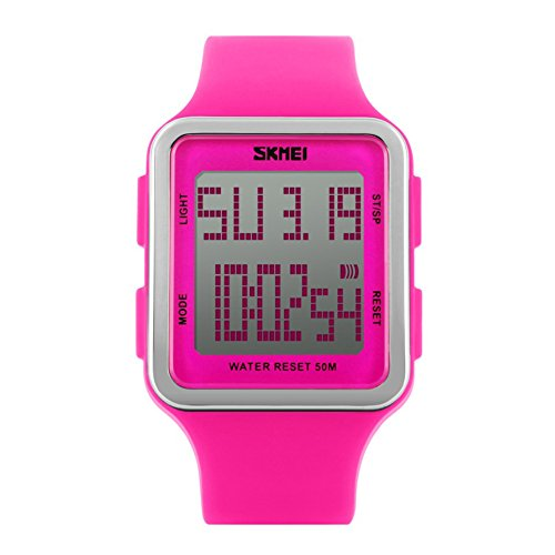Women's Sport Digital Watch, Big Face Square, Waterproof and Multifunctional Watch - Soft Silicone Strap - Easy-to-Read Numbers – Water and Shock Resistant (Rose red, Pink)