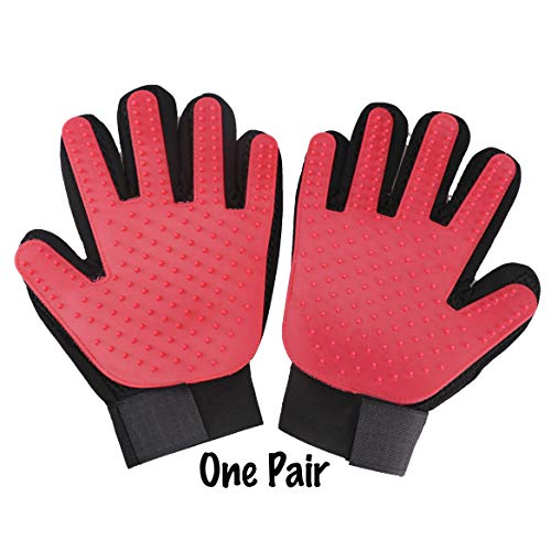 PETA Pet Grooming Glove Gentle Brush Glove Left & Right Efficient Pet Hair Remover Mitt Enhanced Five Finger Design Comfortable for Dogs and Cats with Long & Short Fur 1 Pair Multiple Colors