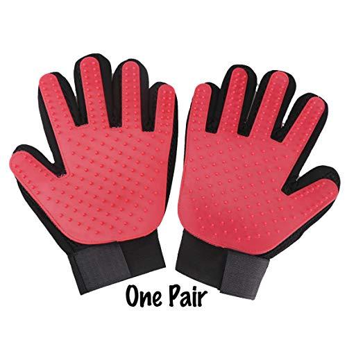 PETA Pet Grooming Glove Gentle Brush Glove Left & Right Efficient Pet Hair Remover Mitt Enhanced Five Finger Design…