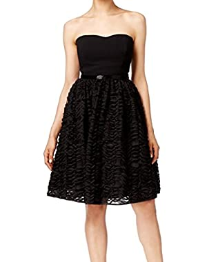 Calvin Klein Women's Strapless Sheath Embellished Dress Black 4