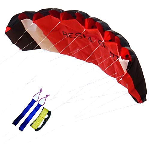 Besra Huge 102inch/98inch/74inch Dual Line Parachute Stunt Kite with Flying Tools 2.6m/2.5m /1.9m Power Parafoil Kitesurfing Training Kites Outdoor Fun Sports for Beach (74inch Red)