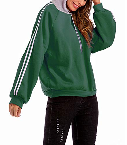 Manches Femmes Pullover Mode Sweats Jumpers Hauts Casual Sweat et Shirts Printemps Patchwork Longues Automne Pulls Tops Monika Vert Capuche Blouse 8qnF1O4w4