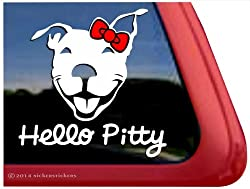 Hello Pitty ~ Smiling Pit Bull Terrier Dog Head Window Decal Sticker