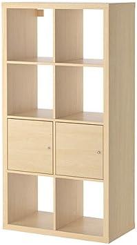Ikea Kallax - Estantería con Puertas, Efecto Abedul - 77x147 cm