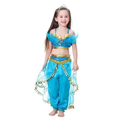 Pettigirl Girls Blue Princess Dress Up Costume Party Cosplay Halloween Costumes for Gril (120?high110-120cm?) -