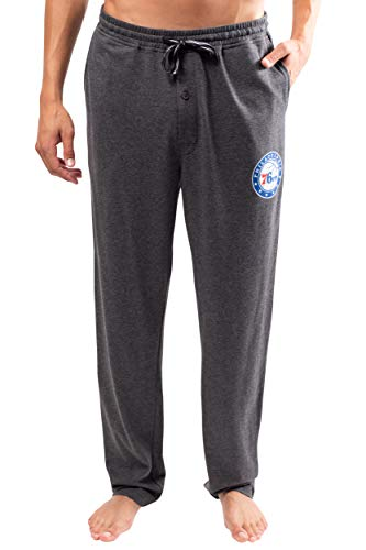 Ultra Game Men's NBA Sleepwear Super Soft Pajama Loungewear Pants, Philadelphia 76ers, Charcoal Heather, Large