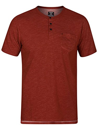 Hurley Men's Dri Fit Lagos Henley SS Tee, Mars Stone (689), Small ()