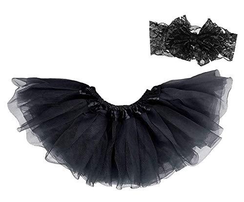 Dancina Tutu Headband Set Newborn Unisex Cute Photography Prop Flower Costume 0-5 Months Black ()