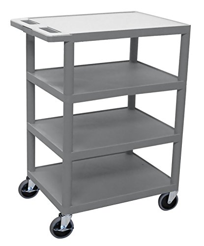 LUXOR BC45-G Lightweight Molded Handle Flat Top Multipurpose Storage Banquet Utility Cart, Shelves, 18'' W x 36'' H, Gray by Luxor
