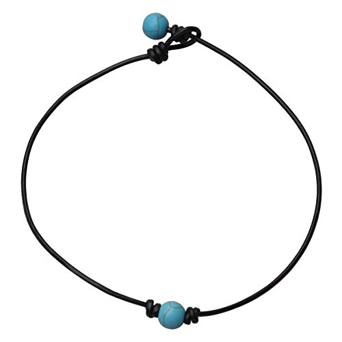 Single Turquoise Stone Leather Choker Necklace on Genuine Black Leather Cord for Women Gift Handmade 14