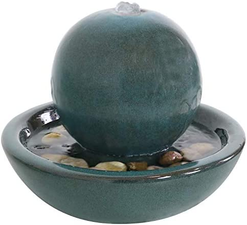 Sunnydaze Ceramic Tabletop Water Fountain with Orb Design – Indoor Zen Desktop Relaxing Water Feature – Interior Spa and Yoga Decoration – 7-Inch Tall