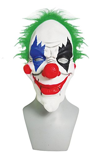 Cheap Clown Mask (DELUXE SCARY Halloween Clown Face Mask with Green Hair and Big Nose ~ Adult Size)