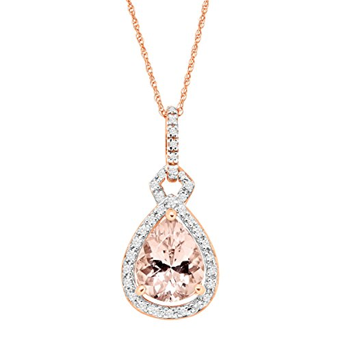 Pear Rose Gold Necklace (2 ct Natural Morganite & 1/6 ct Diamond Pear Drop Pendant Necklace in 10K Rose Gold)