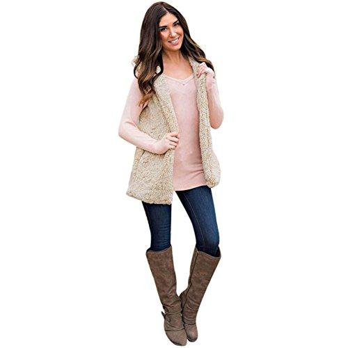 DMZing Womens Winter Lambswool Hooded Zip Up Sherpa Vest Jacket Coat Lady Solid Cardigan