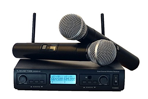 Sound Town Professional Dual-Channel UHF Handheld Wireless Microphone System with Selectable Frequencies,2 Handheld Mics (Dual Channel Handheld)