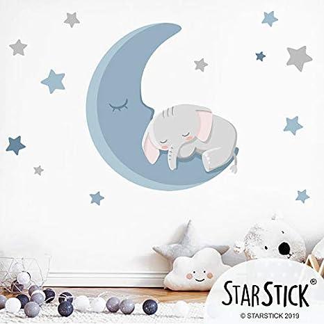 Vinilos decorativos para beb/é Colores T0- B/ásico: 75x40 cm StarStick Conejito leyendo en la luna