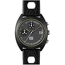 Roue CHR One Chronograph Watch, 1970s Racing Style, 41.5mm Black PVD Sand Blasted Stainless Steel case, Silicone + Soft Leather Straps, Sapphire Crystal with Anti-Reflective Treatment Glass