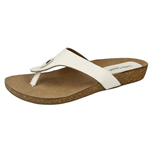 Leather Collection Womens/Ladies Casual Low Wedge Toe Post Sandals White PiuGsf
