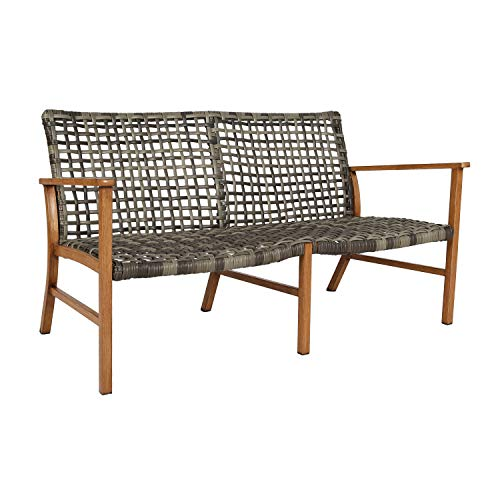 Ulax Furniture Patio Outdoor Loveseat Sofa Open Weave All Weather Wicker Sofa Couch Commercial Outdoor Furniture