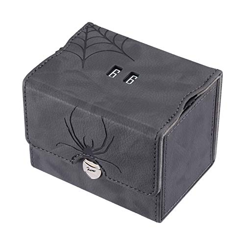 Zoopin Leather Deck Box with Built-in Spinning Life Counter, Black for MTG,Yugioh,Pokeman,TES Legacy,Munchkins CCG Decks and Also Small Tokens or Dice- Hold 80 Sleeved Cards or 150 Naked Cards ...