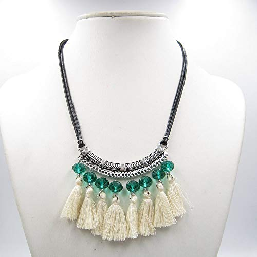 Amazon.com: Green Necklace,Ivory Tassels Necklace,Crystal ...