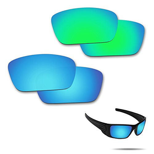 (Fiskr Anti-Saltwater Polarized Replacement Lenses for Oakley Fuel Cell Sunglasses 2 Pairs Packed (Ice Blue & Emerald Green))