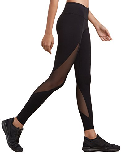 Nunaroll Women's Mesh Leggings High Waist Yoga Pants with Waistband Pocket - Tummy Control (X-Large)