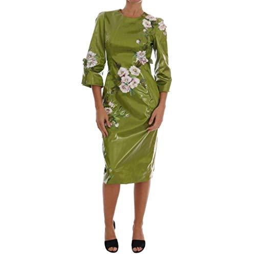 Dolce Gabbana Pink Dress - Dolce & Gabbana Green Pink Roses Print Sheath Dress