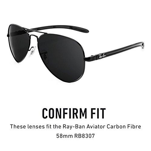 Verres de rechange pour Ray Ban Aviator Carbon Fibre 58mm RB8307 — Plusieurs options Titanium MirrorShield® - Polarisés