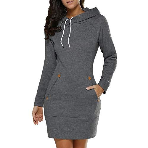 HGWXX7 Women Solid Plus Size Long Sleeve WIth Pocket Hoodies Jumper Hooded Sweatshirt Dress(Dark Gray,S) from HGWXX7