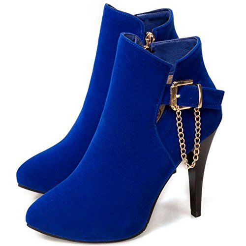 Boots Damen Zipper Dress Western Coolcept Blau Stiletto Ankle Schnalle mit aYqw6adt