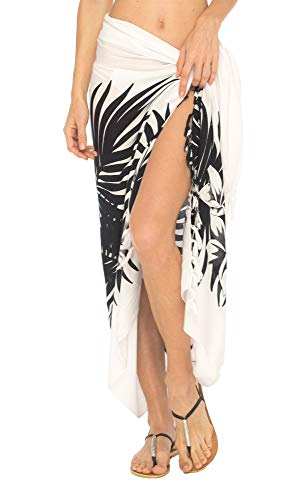 - SHU-SHI Womens Beach Swimsuit Cover Up Palm Tree Sarong Wrap with Coconut Clip White/Black