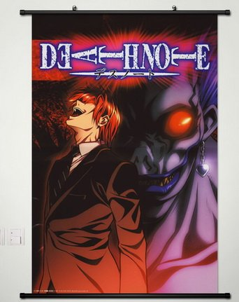 Death Note Wall Scroll Poster Fabric Painting For Anime Yagami Light & Ryuuku 070 S