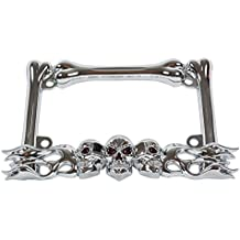 Chrome Metal 3-D Skull Flame Bones Motorcycle License Plate Frame