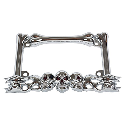 Chrome Metal 3-D Skull Flame Bones Motorcycle License Plate Frame (Chrome Motorcycle Frames)