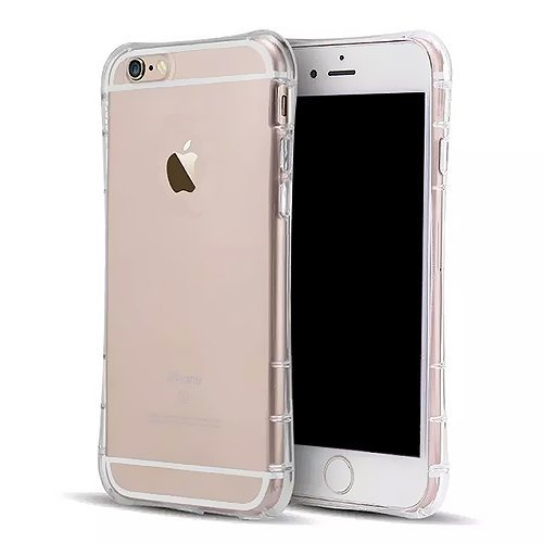 SZJJX iPhone 6/6s Clear Air Cushion Case Slim Soft Flexible TPU Bumper Hard Case for Apple iPhone 6/6s Shock Absorbing Scratch Resistant Frame Cover Protector with Protective Caps 4.7 inch