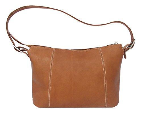 Piel Leather Medium Shoulder Bag in Saddle