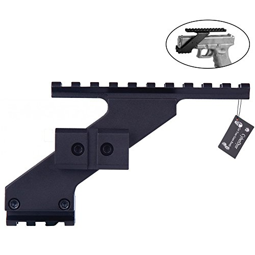 CyberDyer Universal Pistol Handgun Scope Mount Adapter Fits for Weaver Picatinny Rail Glock 17 19 20 22 23 30 32 (Black)