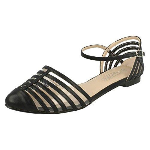 On Größe Spot Größe Sandalen US Ladies Größe 6 Manmade UK EU 8 Schnalle beiläufige befestigt Black 39 qdZdR