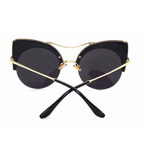 mujeres Rojo de marco Inlefen Azul Medio ojo gafas retro y gato Gafas de sol hombres Gafas p16vB