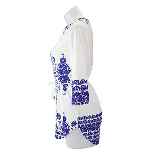 Chouette Blouse Chemisier Mini Robe Tunique Femme Longues Manches Imprimé Floral