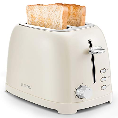 Ultrean Toaster 2 Slice with Extra-Wide Slot, Retro Stainless Steel Toaster with Removable Crumb Tray, Small Toaster…